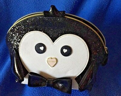 PENGUINS! Glittery clutch or cosmetic bag by Betsy Johnson NWOT