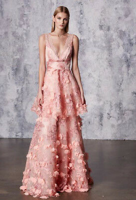 98e5a809746  1295 New Marchesa Notte 3D Flowers Embroidered Gown Pink Blush Dress 8 12  14