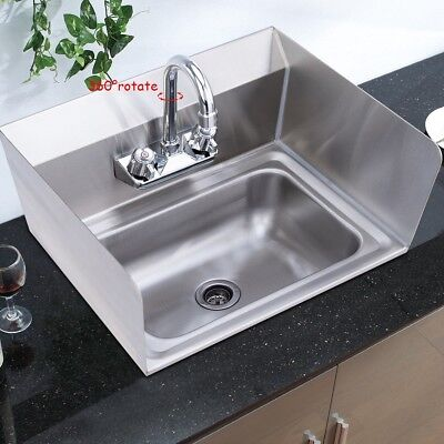 NSF Stainless Steel Wall Mount Hand Washing Sink W/Chrome Gooseneck Faucet Home