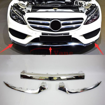3PCS Front Bumper Chrome Trim Molding for Mercedes W205 C300 C350 C200 2014-2017