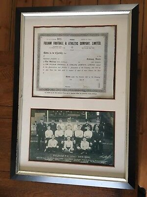 Fulham team photo and share certificate framed from 1904/05
