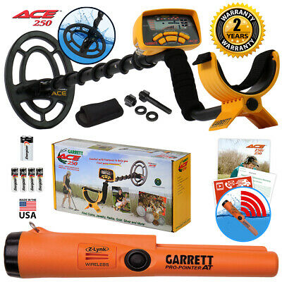 Garrett ACE 250 Metal Detector with Pro Pointer AT Z-Lynk Waterproof Pinpointer