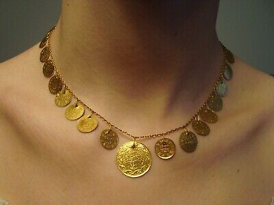 Antique 19Th Century Turkish Ottoman 22K Gold 21 Coin Necklace 18Kt Gold Chain