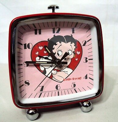BETTY BOOP Collectible Red Chrome Table Top Clock Heart Pudgy Dog
