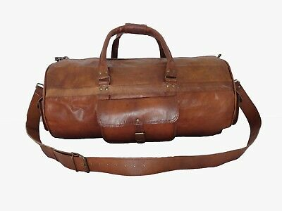 "23"" Leather Duffle Barrel Bag Gym Sports Yoga Travel Bag Weekend Luggage Handbag"