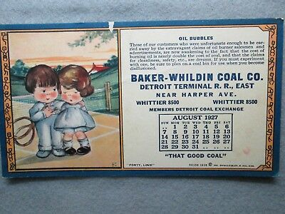 Vintage August 1927 Baker-Wildin Coal Co. Detroit Terminal Railroad East Blotter