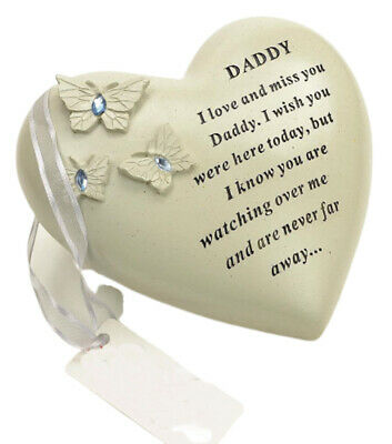 Daddy Butterfly Gem Heart Graveside Memorial Ornament Plaque Garden Grave Verse