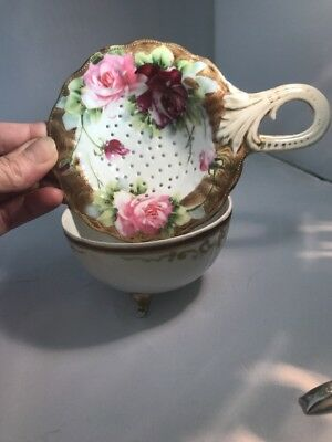 Antique Nippon Tea Strainer With Drip Bowl Hand Painted Roses And Gold Gilding