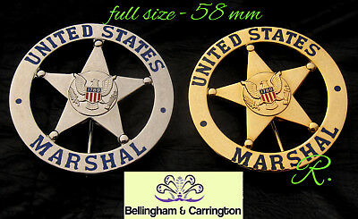 g4/ Historisch police badge + U.S. Marshal  / choose gold or silver