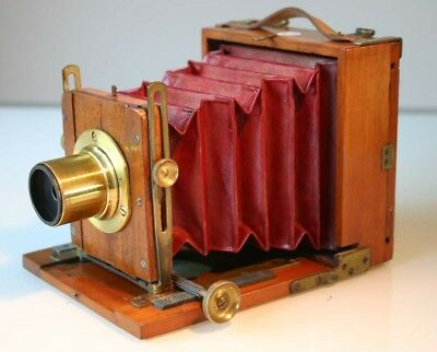 Unusual EARLY 1/4 PLATE Mahogany camera, 'The CLYDESDALE SET' C1890? Red Bellows