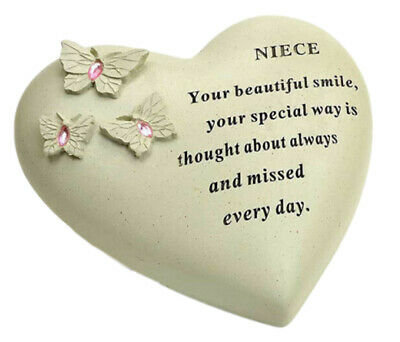 Niece Butterfly Gem Heart Graveside Memorial Plaque Garden Grave Ornament New
