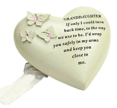 Granddaughter Butterfly Gem Heart Graveside Memorial Ornament Plaque Tribute New