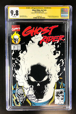 Ghost Rider v2 15 CGC 9.8 signed & sketch Mark Texeira Deathwatch Blackout