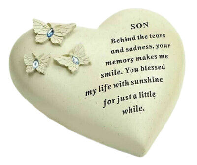 Special Son Butterfly Gem Heart Graveside Memorial Ornament Plaque With Verse