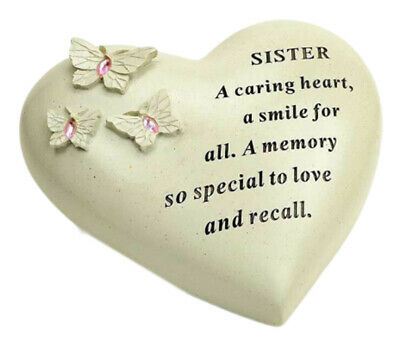 Special Sister Butterfly Gem Heart Graveside Memorial Ornament Plaque New