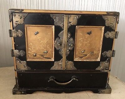 Antique Asian Lacquer Jewelry Box Chest Drawers Chinese