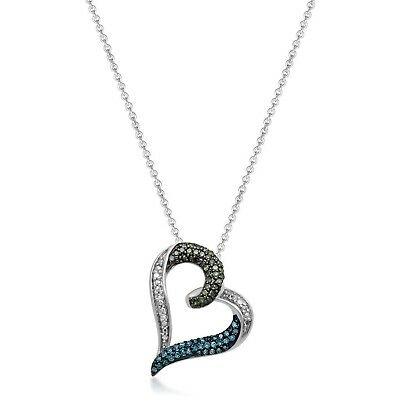 Jewelili Sterling Silver Blue, Green And White Diamond Heart Pendant Necklace...