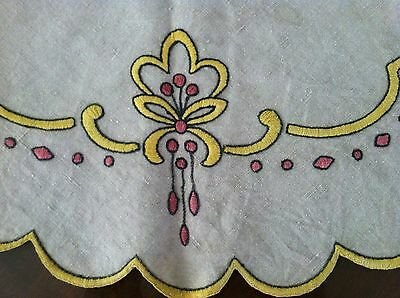 Beautiful Original Antique Arts & Crafts Embroidered Linen Table Topper