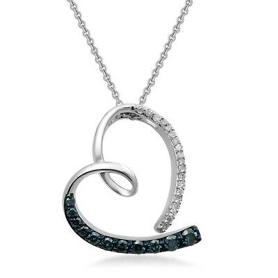 Jewelili Sterling Silver Blue And White Diamond Tilted Heart Pendant Necklace...