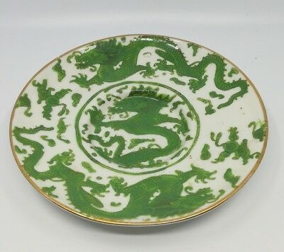 soucoupe porcelaine chinoises dragon 5 griffes vert, antic Chinese plate GREEN