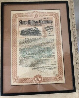 1904 SIERRA RAILWAY COMPANY OF CALIFORNIA 1000 GOLD BOND Sinking Fund 5%