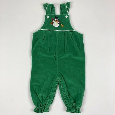 Vintage 80s Sears Flutter Sleeve Snowman Overalls Green Corduroy Baby 6-9 Months
