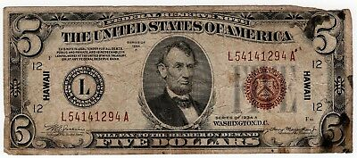$5 Federal Reserve Note Overprint Hawaii Series 1934-A Fine Circulated, Stained