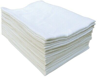 3X White Muslin Squares Baby Muslins Cloths Nappy Inserts 100% Cotton Bibs 60 Cm