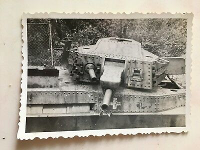 original WWII PHOTO OF WRECKED GERMAN TANK #1