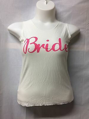 BRIDE Racerback Tank Top With Pink Bow Small