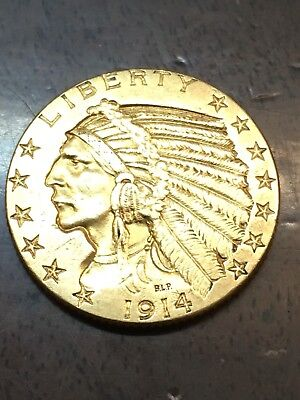 1914-P $5 Indian Gold Coin