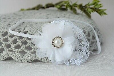 Lace headband, white baby hair band, baptism christening tiara, flower Handmade