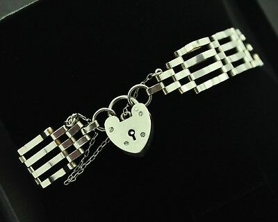 Vintage 4 Bar Gate Bracelet with Heart Padlock & Safety Chain in 925 Silver