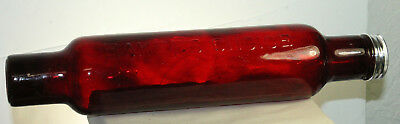 DEPRESSION STYLE RED GLASS ROLLING PIN w/ WATER FILL METAL END CAP