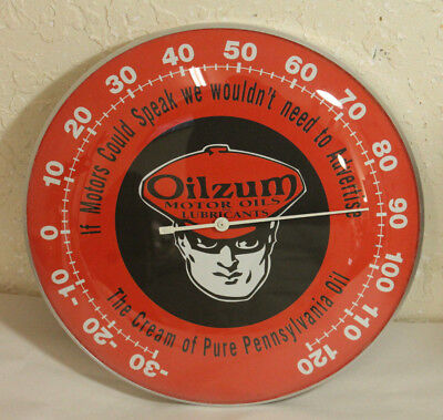 """Oilzum Motor Oil Thermometer 12"""" Round Glass Dome Sign Vintage Style Man Cave"""