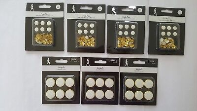See Jane Work Magnets and Push Pins, White/Gold, 10 Packs