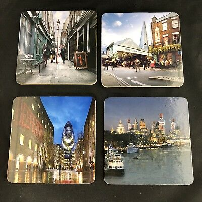 Beefeater Gin London Promotional Coaster Collector Set of 4 City Scenes