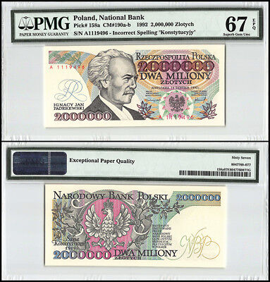 Poland 2 Million (2000000) Zlotych, 1992, P-158a, Incorrect Spelling, PMG 67