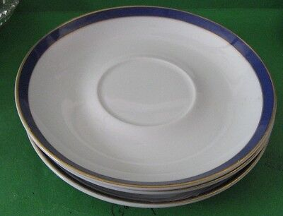 "Gorham Fine China Japan Golden Swirl 6"" Saucers - 3 White with Blue & Gold Rim"