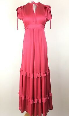 Vintage Women's Size Small Pink Prairie Maxi Dress Keyhole Tiered Boho 60's 70's