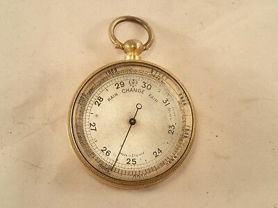 Antique English Gentlemen's Gilt Brass Cased Pocket Barometer Altimeter