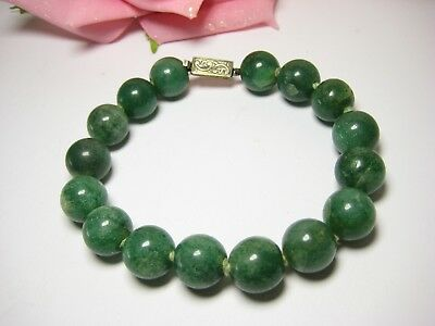 Bracelet Antique Jade 835 Silver 100% Natural ca. 13 mm Jewelry Pearls Necklace