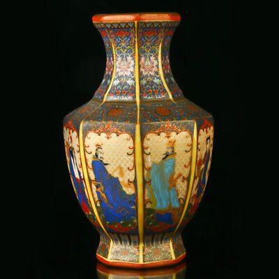 Chinese Enamel Porcelain Hand Drawed The Eight Immortals Vase W Qianlong Mark