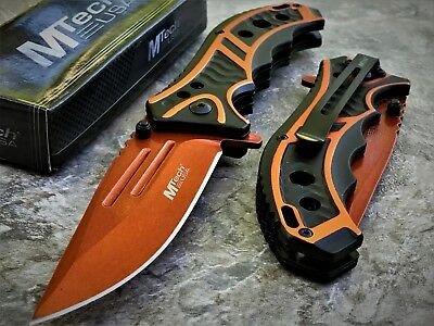 "MTECH USA 8.25"" ORANGE SPRING ASSISTED TACTICAL FOLDING POCKET KNIFE Assist Open"