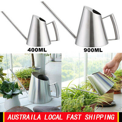 400/900ml Mini Stainless Steel Watering Can Brushed Garden Greenhouse Planting T