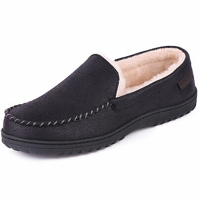 Men's Micro Suede Moccasin Slippers Plush Lined Anti-skid Indoor Outdoor Shoes