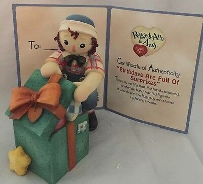 Enesco Raggedy Ann Figurine-Birthdays are Full of Surprises Certificate of Auth.