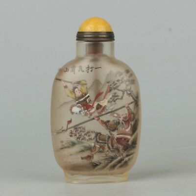 Chinese Exquisite Handmade the ancients Text Glass Inner painting snuff bottle