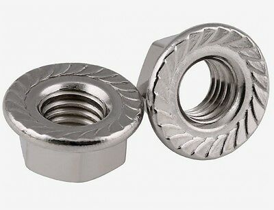 M6 x 1mm Pitch Serrated Flange Nuts Hex Lock Nuts 304 A2-70 Stainless Steel