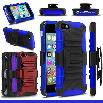 For iPhone 5/5S/5C/SE/SE2 Shockproof Hybrid Clip Kickstand Hard Phone Case Cover